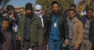Video grab of unidentifed freed hostages