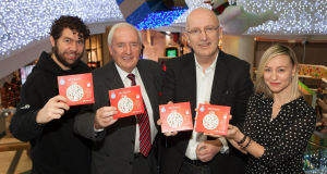 Declan O'Rourke, Bill O'Herlihy, John Murray and Cathy Davey at the launch of 'A Murray Christmas 2'.