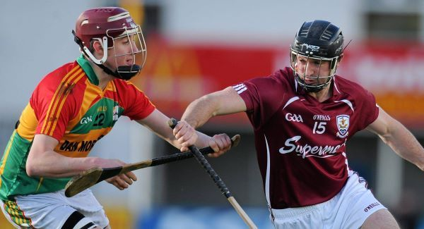 Aengus Callinan, Galway, in action against Alan Corcoran, Carlow in the Bord na Móna Walsh Cup. Picture: Dáire Brennan / SPORTSFILE