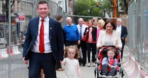 Alan Kelly with his wife, Regina; daughter, Aoibhe, 4; and son, Senan, 2. Pic: Laura Hutton
