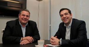 Panos Kammenos and Alexis Tsipras today.