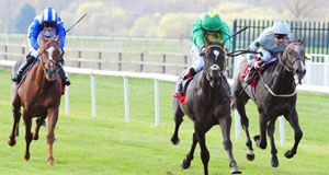 An Duine Uasal, centre, and Pat Smullen win the Irish Stallion Farms EBF Auction Maiden at Cork yesterday.