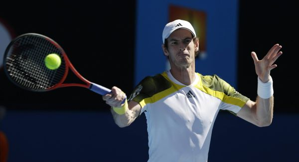 Andy Murray hits a return to France's Jeremy Chardy during their quarter-final match at the Australian Open.Picture: PA