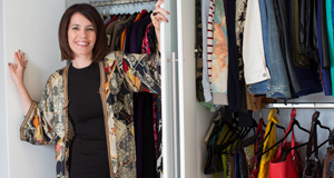 Annmarie O'Connor de-clutters and gets the perfectly organised wardrobe, a 'happy closet'; opposite, Victoria Beckham wears one of the pieces she is selling for charity.