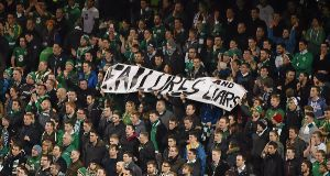 A banner at the match last night