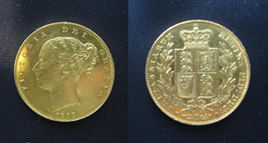 This 1838 gold sovereign depicting a young Queen Victoria sold for a hammer price of €1,500 at Hegarty's in Bandon last Sunday.