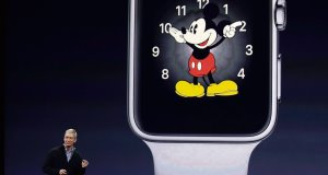 Apple chief executive Tim Cook talks about the new Apple Watch during an Apple event yesterday in San Francisco. Picture: AP