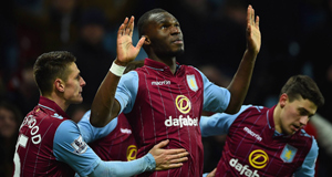 Christian Benteke of Aston Villa celebrates scoring their second goal