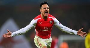 Alexis Sanchez after scoring Arsenal's second goal in the Champions League Group D clash with Borussia Dortmund at the Emirates Stadium. Picture: Jamie McDonald