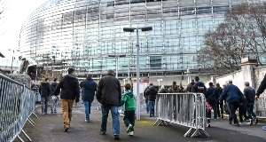 General view of fans on the way to Sunday's match