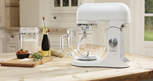Kenwood's kMix stand and mixer comes with a glass bowl, so you can make  sure, at a glance, that fruit and nuts are evenly mixed (€499 at Brown Thomas and Arnotts).