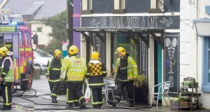 The scene at Ballinspittle, Co Cork, where there was an explosion and fire at Cafe Diva.