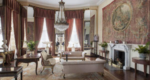 The drawing room of Bantry House with an Aubusson tapestry on the left.