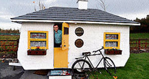 John Walsh with his Shebeen, an authentic Irish pub on wheels.
