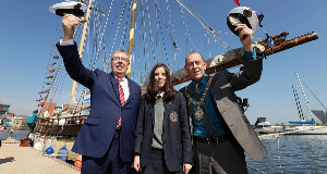 The Lord Mayor of Belfast, Councillor Arder Carson (right) with Dr Gerard O'Hare, Chairman of Belfast Tall Ships Ltd and ship trainee Aine Wills at today's announcement.