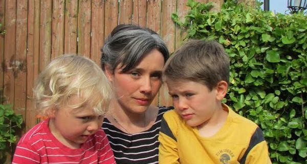 Beth Tyrrell with her sons Ali (7) and Malachy (3) McKeever.