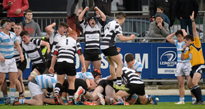 LATE, LATE TRY: Referee Sean Gallagher signals a try in the last minute of the game by prop Dylan Murphy for Cistercian College, Roscrea, in the Leinster Senior Schools Cup quarter-final clash with Blackrock College at Donnybrook Stadium.