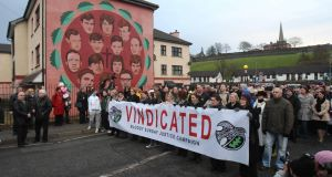 Participants in a march held yesterday in Derry to commemorate the 1972 Bloody Sunday shootings.
