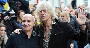 Midge Ure and Bob Geldof arrive for the recording of the Band Aid 30 single