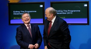 Minister Brendan Howlin and Michael Noonan at a press conference to mark the bailout exit today. Picture: PA