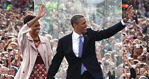 President Barack Obama and First Lady Michelle Obama at the College Green event