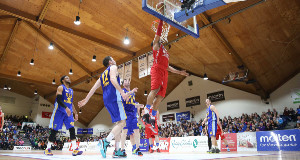 Men's National Cup Final, National Basketball Arena, Tallaght. UCD Marian vs C&S UCC DemonsLehmon Colbert of C&S UCC Demons scores a basketPhoto: INPHO/Cathal Noonan