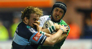 Connacht's Dave McSharry is tackled by Cardiff Blues' Kristian Dacey and Lloyd Williams. Picture: Craig Thomas