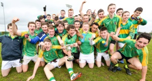St Pats Castleisland  celebrate after winning the  Corn Roibeard Uí Bhuachalla Final (U16½) Final against Mitchelstown CBS Picture: Brian Gavin