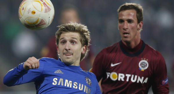 Sparta's Matej Hybs, right, looks on as Chelsea's Marko Marin, left, tries to control the ball.Picture: PA