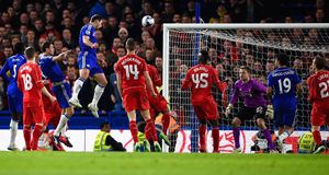 Branislav Ivanovic climbs highest to head home Chelsea's extra-time winner in last night's Capital One Cup semi-final second leg at Stamford Bridge. Picture: Mike Hewitt/Getty