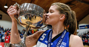 Team Montenotte Hotel captain Claire Rockall kisses the cup after victory over Killester.
