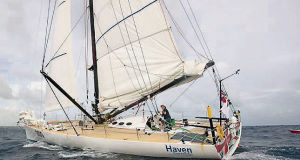 Veteran sailor Robin Knox-Johnston competing in the Clipper Round the World Yacht Race.