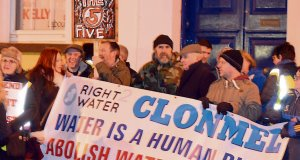 Protests in Clonmel on behalf of the three men jailed for refusing to stay at least 20 metres away from water-meter installers.