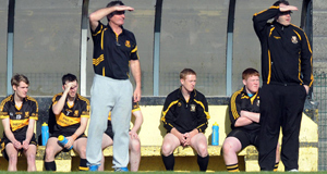 Colm Cooper on the subs' bench for Dr Crokes during the opening round of the Kerry County football league division one on Sunday. Picture: Eamonn Keogh
