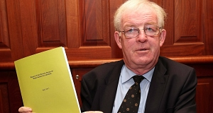 Colm McCarthy pictured with the Report of Review Group on State Assets and Liabilities. Picture Colin Keegan, Collins, Dublin.