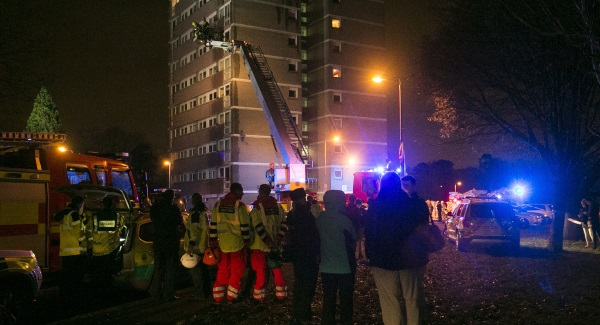 High rise tower block is engulfed in flames in Belfast, Ireland