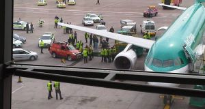The scene at Cork Airport following the man's arrest. Picture: John Peavoy