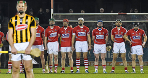 RESPECT: The teams stand for a minute's  silence before last Sunday's  Allianz Hurling League,  Division 1A game between Cork and Kilkenny at  Páirc Uí Rinn, Cork. Picture: Paul Mohan/Sportsfile