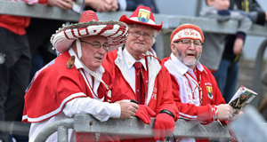 RED ARMY: Colourful Cork supporters pictured at the Allianz Football League, Division 1, Round 6 clash against Mayo at Páirc Uí Rinn. Picture: Matt Browne/Sportsfile
