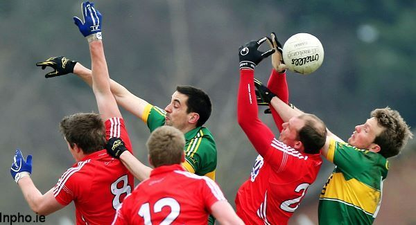 Cork's Aidan Walsh, Andrew O'Sullivan and Alan O'Connor with Anthony Maher and Donnchadh Walsh of Kerry. Picture: Inpho