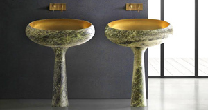 A dream of a sink and why not have two? The Gong sink and legby Enzo Berti for Kreoo in Irish Green marble. Wash your hands of€9,390 per ovoid and stand. Gold shading to bowl €1,530.www.kreoo.com