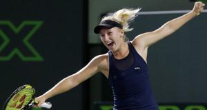 Daria Gavrilova celebrates her win
