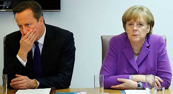 British prime minister David Cameron and German chancellor Angela Merkel. The two leaders will meet later this month in London with reform of the  EU high on the agenda.