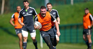 PASSION PLAY: Munster prop David Kilcoyne is put through his paces during a training session at CIT yesterday.
