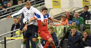 David McGoldrick in action against the USA