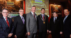 Pat McCann, Delata Group; Tim Fenn, CEO, Irish Hotels Federation; Michael Cawley, Fáilte Ireland; Stephen McNally, President, IHF; Tom Randles, Randles Court Hotel, Killarney; and Howard Hastings, chairman.