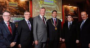 Pat McCann, Delata Group; Tim Fenn, CEO, Irish Hotels Federation; Michael Cawley, Fáilte Ireland; Stephen McNally, President, IHF; Tom Randles, Randles Court Hotel, Killarney; and Howard Hastings, chairman.