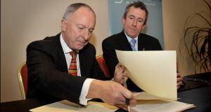 Justice Minister Dermot Ahern and GLEN chair Kieran Rose at the signing ceremony today. Picture: Tommy Clancy