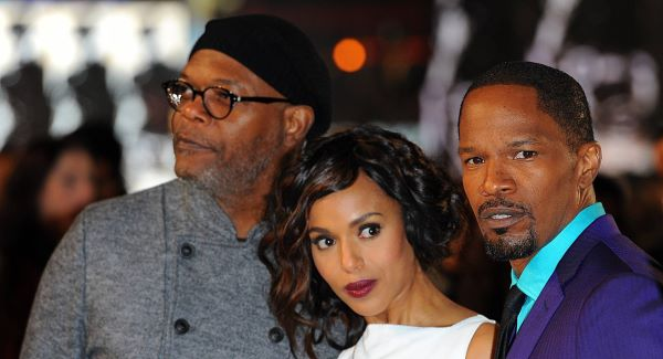 Jamie Foxx (right) with Django Unchained co-stars Samuel L. Jackon and Kerry Washington
