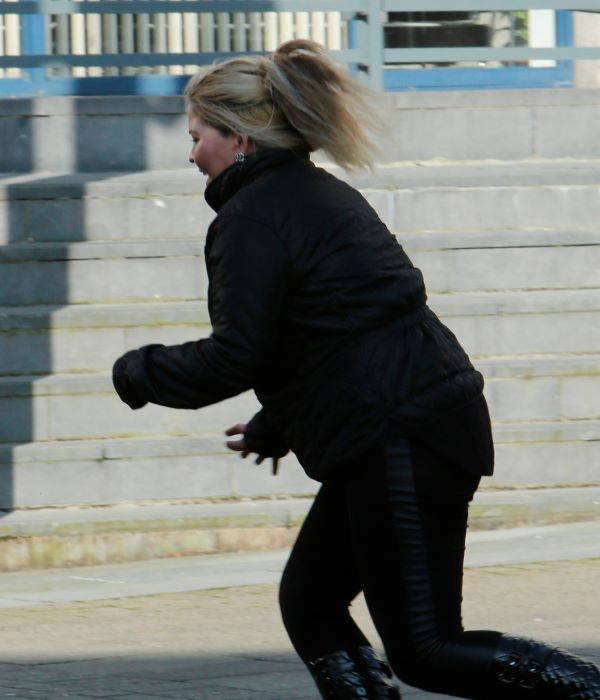 Donna O'Brien sprints from the High Court in Limerick
